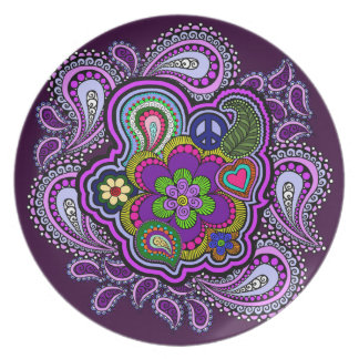 Psychedelic Purple Paisley Decorative Plate