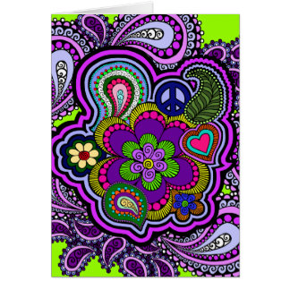 Psychedelic Purple Paisley Greeting Card