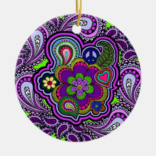 Psychedelic Purple Paisley Ornament