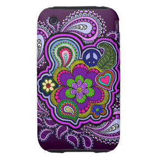 Psychedelic Purple Paisley Phone Case Tough iPhone 3 Cases