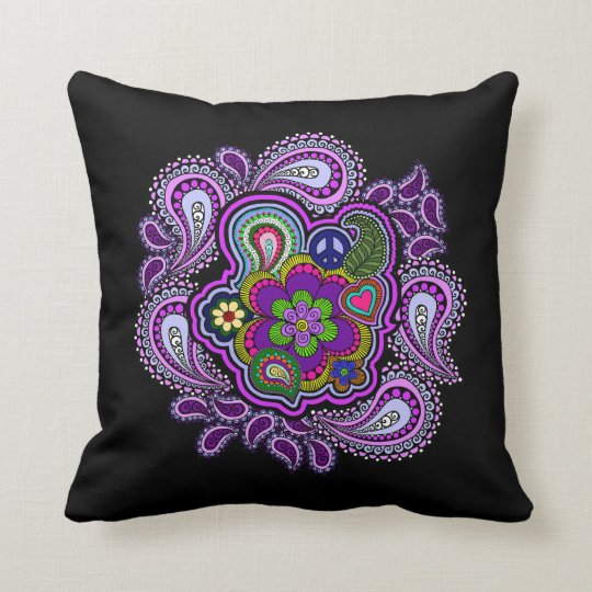 Psychedelic Purple Paisley Pillow