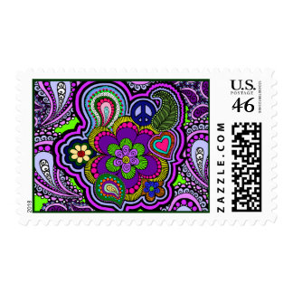 Psychedelic Purple Paisley Postage