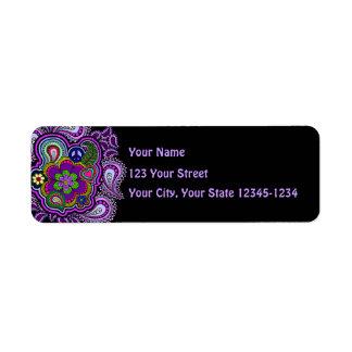 Psychedelic Purple Paisley Return Address Label