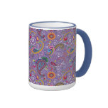 Psychedelic Purple Paisley Ringer Coffee Mug