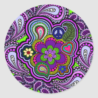 Psychedelic Purple Paisley Sticker