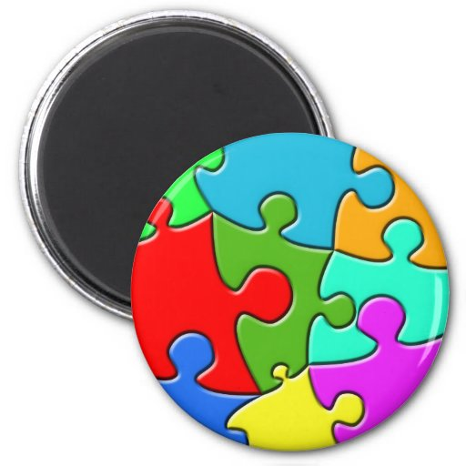 Psychedelic Puzzle 2 Inch Round Magnet