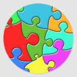 Psychedelic Puzzle Classic Round Sticker