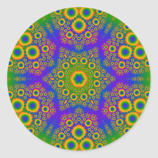 Psychedelic Radial Pattern: Classic Round Sticker