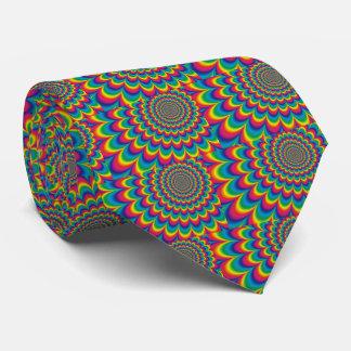 Psychedelic rainbow abstract design neck tie