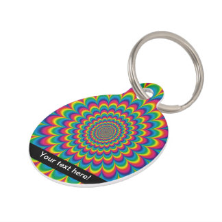 Psychedelic rainbow abstract design pet ID tag