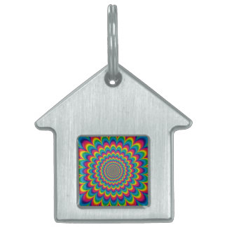 Psychedelic rainbow abstract design pet tag