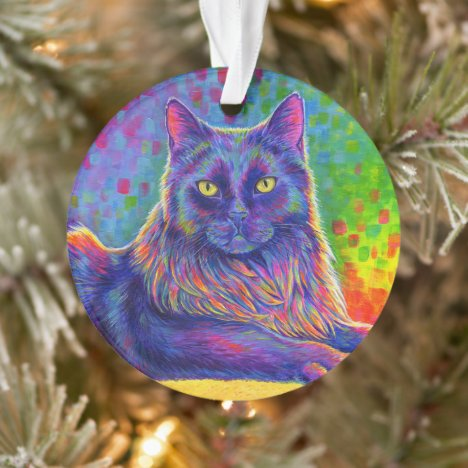 Psychedelic Rainbow Black Cat Acrylic Ornament