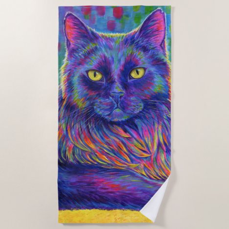Psychedelic Rainbow Black Cat Beach Towel