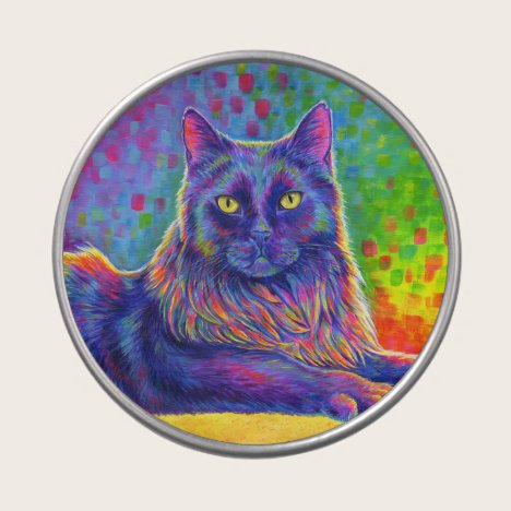 Psychedelic Rainbow Black Cat Candy Tin