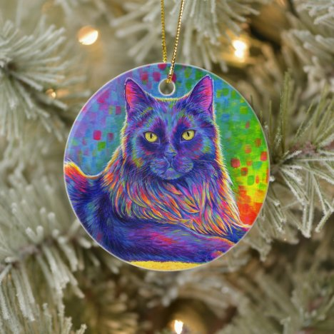 Psychedelic Rainbow Black Cat Ceramic Ornament
