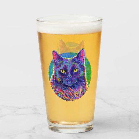 Psychedelic Rainbow Black Cat Drinking Glass Cup