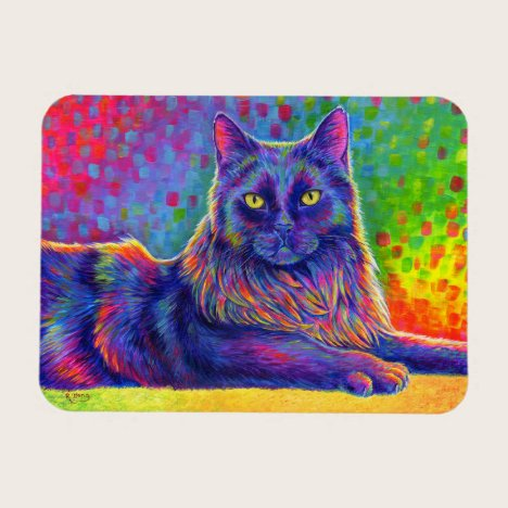 Psychedelic Rainbow Black Cat Flexible Magnet