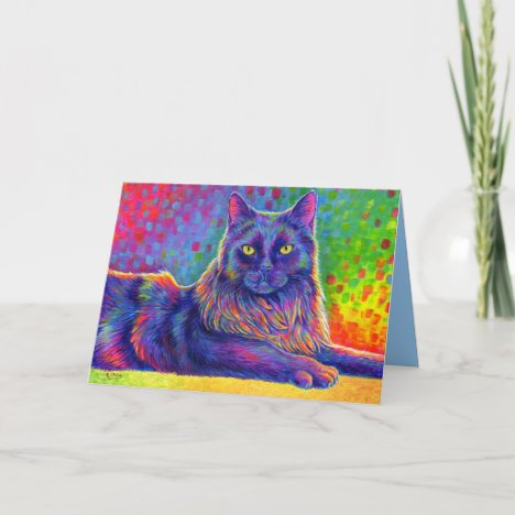 Psychedelic Rainbow Black Cat Greeting Card