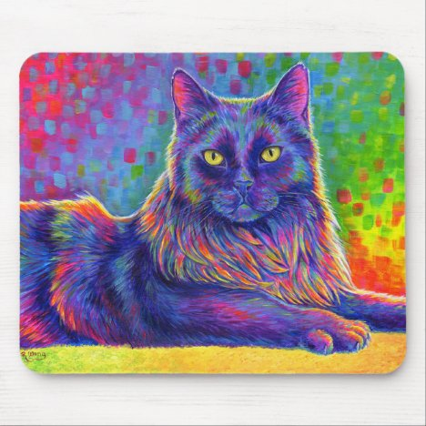 Psychedelic Rainbow Black Cat Mouse Pad