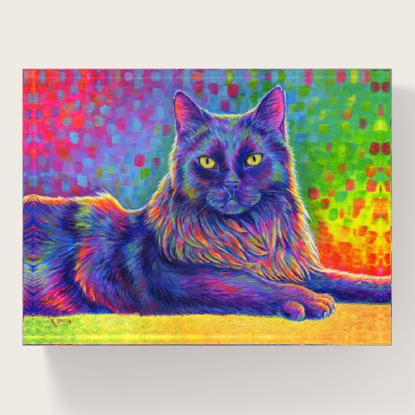 Psychedelic Rainbow Black Cat Paperweight
