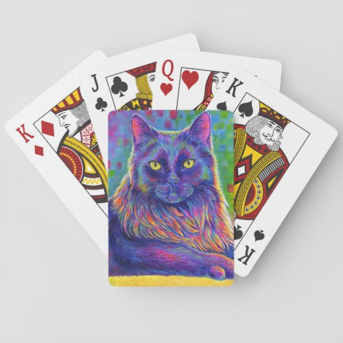 Psychedelic Rainbow Black Cat Playing Cards