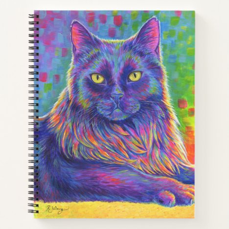 Psychedelic Rainbow Black Cat Spiral Notebook
