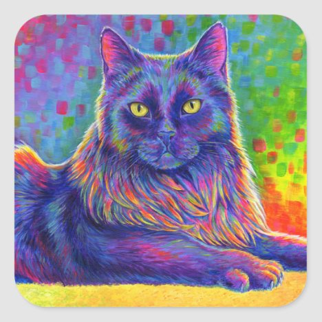Psychedelic Rainbow Black Cat Stickers