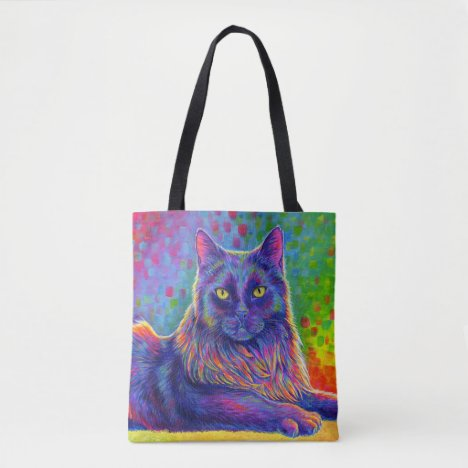 Psychedelic Rainbow Black Cat Tote Bag
