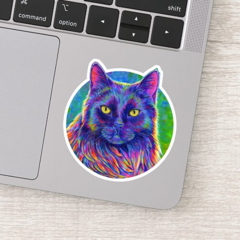 Psychedelic Rainbow Black Cat Vinyl Sticker