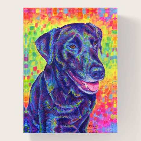 Psychedelic Rainbow Black Labrador Dog Paperweight