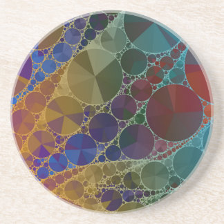 Psychedelic Rainbow Bling Abstract Coaster