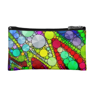 Psychedelic Rainbow Bling Pattern Makeup Bag