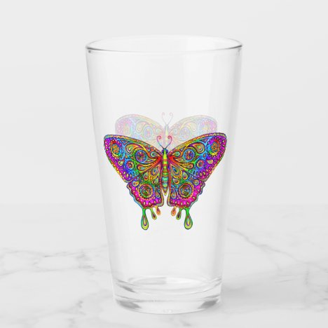 Psychedelic Rainbow Bohemian Butterfly Glass Cup