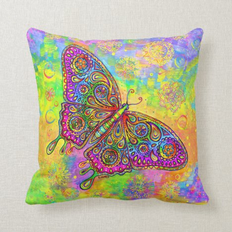 Psychedelic Rainbow Bohemian Butterfly Pillow