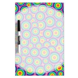 Psychedelic rainbow bubbles dry erase board