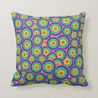 Psychedelic rainbow bubbles pillow