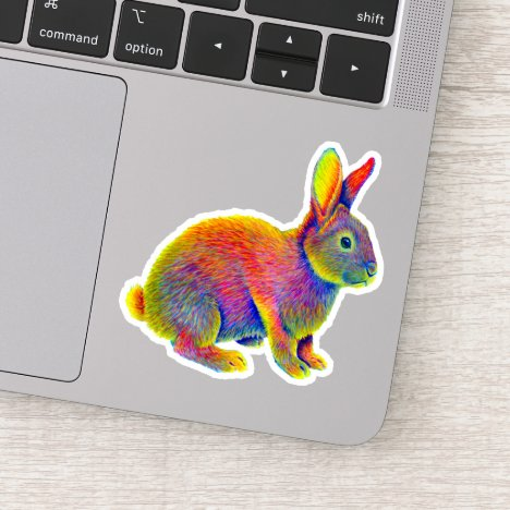 Psychedelic Rainbow Bunny Rabbit Vinyl Sticker