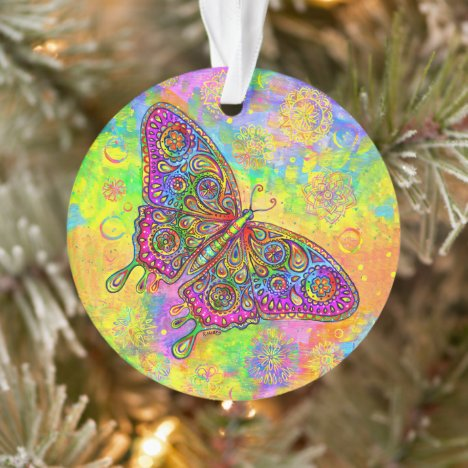 Psychedelic Rainbow Butterfly Acrylic Ornament