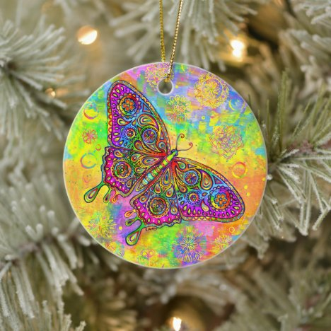 Psychedelic Rainbow Butterfly Ceramic Ornament