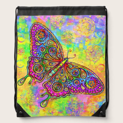 Psychedelic Rainbow Butterfly Drawstring Backpack