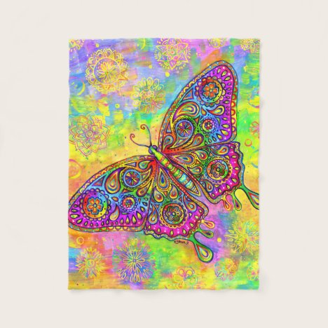 Psychedelic Rainbow Butterfly Fleece Blanket