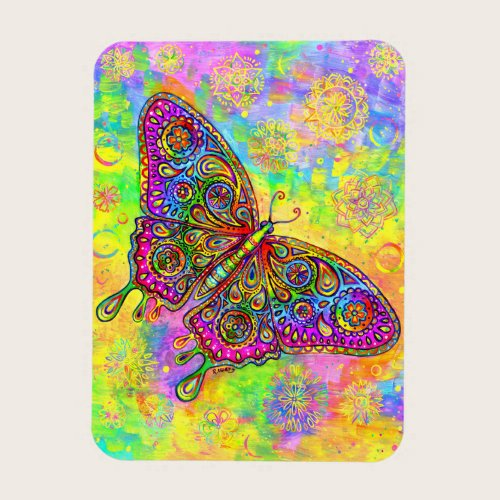 Psychedelic Rainbow Butterfly Flexible Magnet