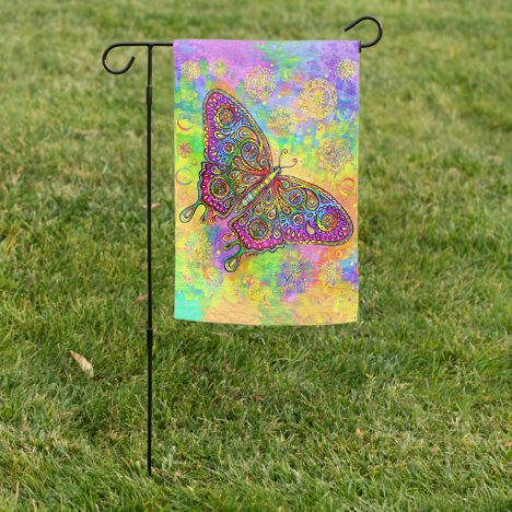 Psychedelic Rainbow Butterfly Garden Flag