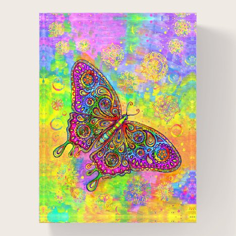 Psychedelic Rainbow Butterfly Glass Paperweight