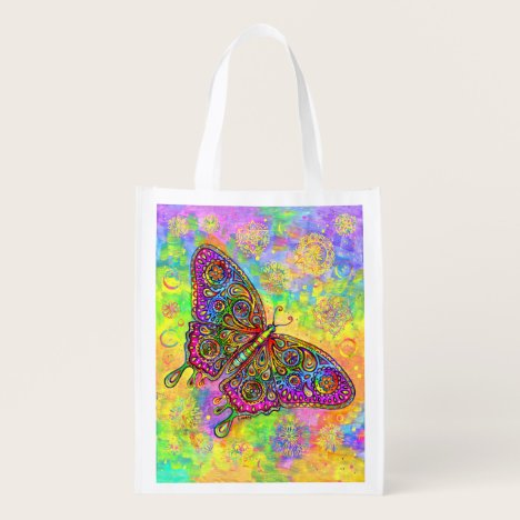 Psychedelic Rainbow Butterfly Grocery Bag