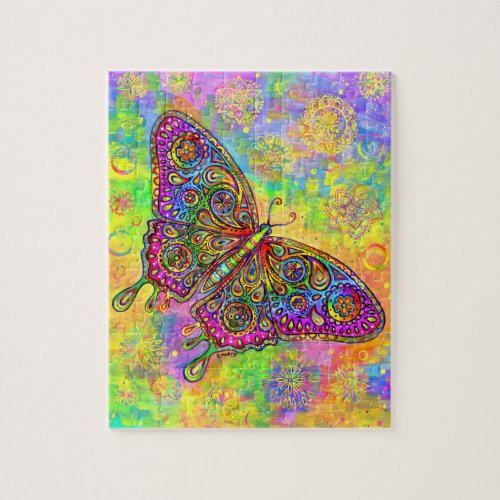Psychedelic Rainbow Butterfly Jigsaw Puzzle