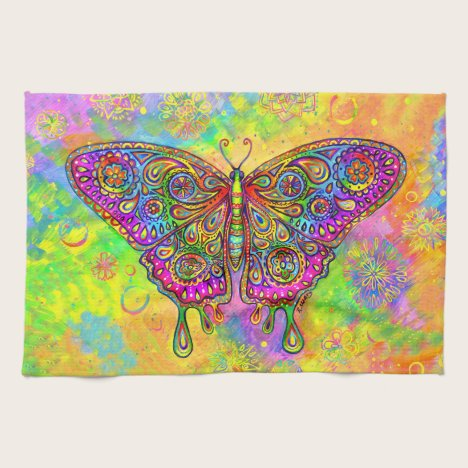 Psychedelic Rainbow Butterfly Kitchen Towels