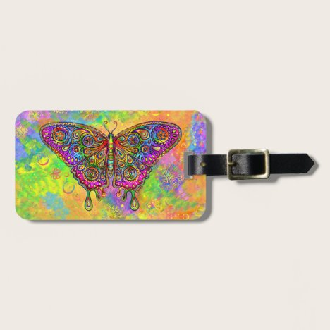 Psychedelic Rainbow Butterfly Luggage Tag