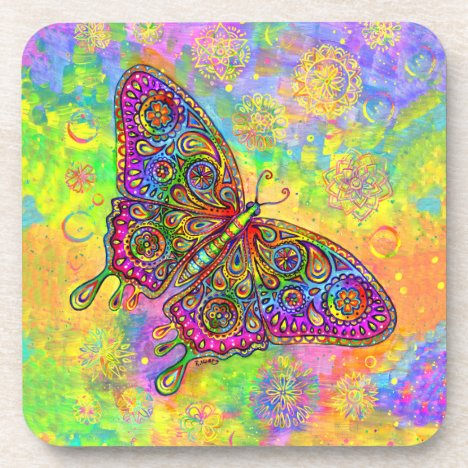 Psychedelic Rainbow Butterfly Plastic Coasters