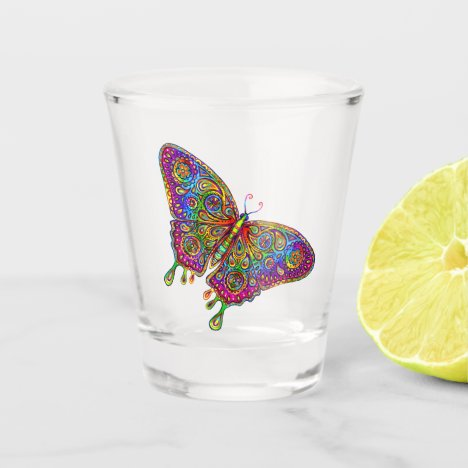 Psychedelic Rainbow Butterfly Shot Glass